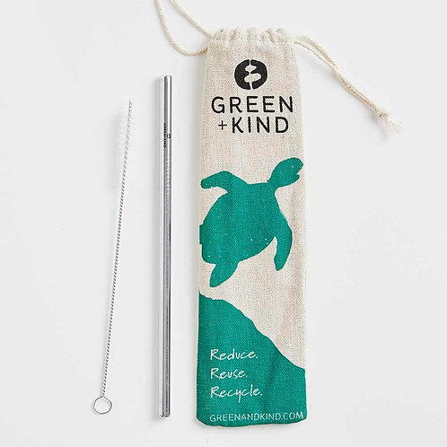 Green + Kind Stainless Steel Straight Straw - 1 Pack