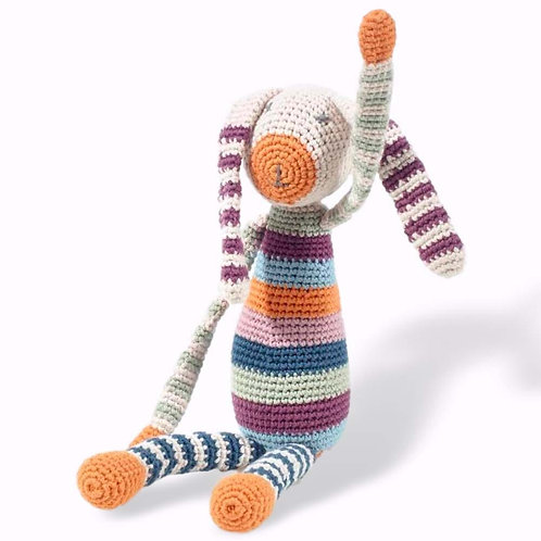 Pebble Ethical Toys - Stripey Bunny with Rattle