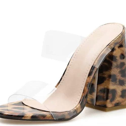 Cheetah Clear Strap Heel