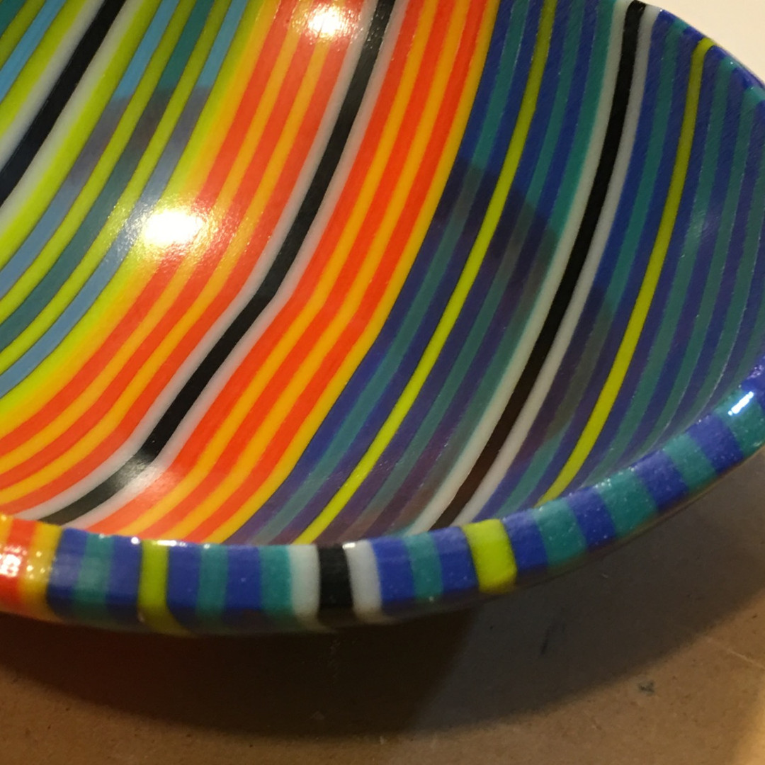 Orange Green Blue Stripe Bowl