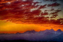 Sunset over the Minarets, Sierras