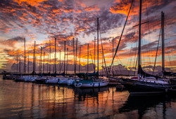 Sunset at Oahu Marina, Hawaii