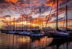 Sunset at Oahu Marina, Hawaii