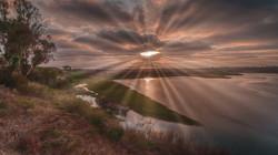 Sunset Leucadia Lagoon1sunrays desat