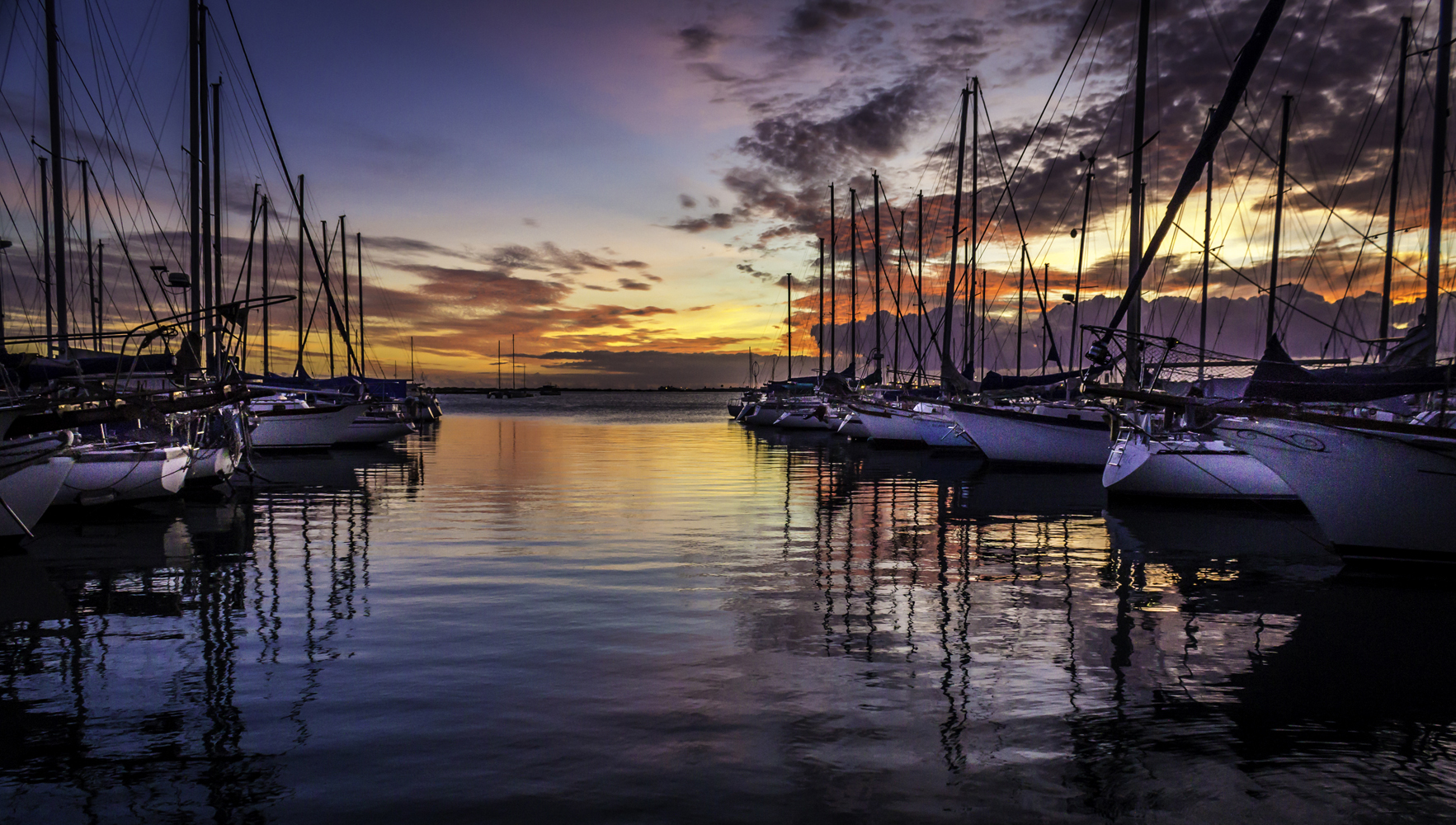 Sunset at Oahu Marina, Oahu, Hawaii