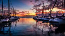 Sunset at Oahu Marina, Oahu, Hawaii