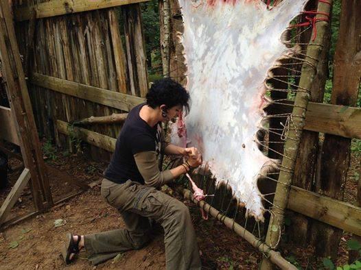 Moot 2014 Defleshing with a bone tool.jp