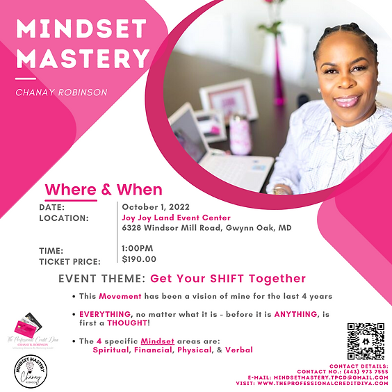 Mindset Mastery with Chanay Robinson Live Event