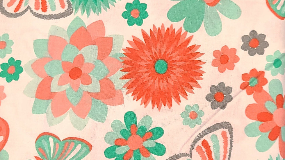 Springtime in Coral Fabric by the Yard