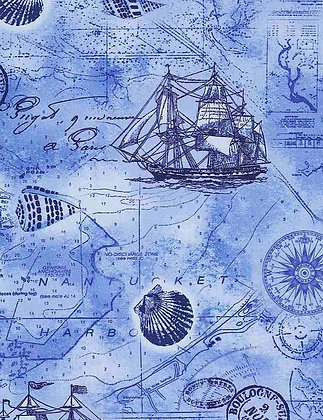 Blue Nautical Map by Timeless Treasure Cotton Fabric by the Yard