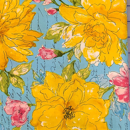 Peonies in the Pond Fabric by the Yard