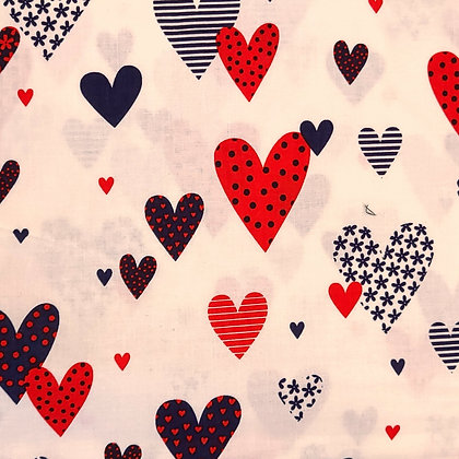 Patriotic Hearts Fabric by the Yard