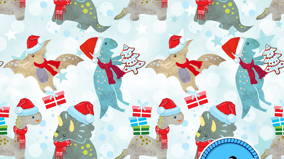 Xmas Dinosaurs Sew O'side Exclusive 100% Woven Cotton by the Yard