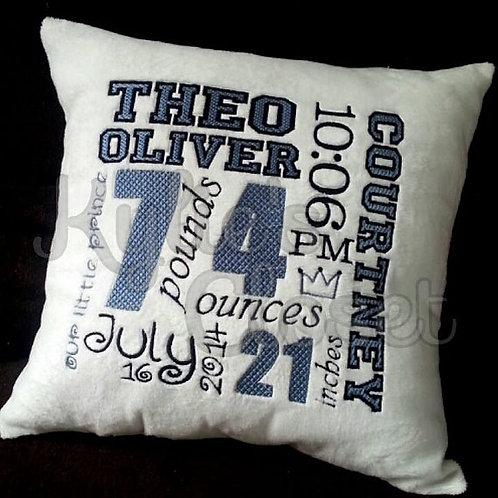 Birth Announcement Embroidered Pillow