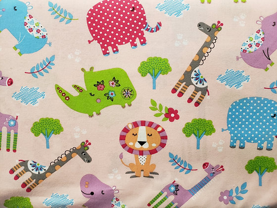 Pink Zoo Animals Fabric by the Yard