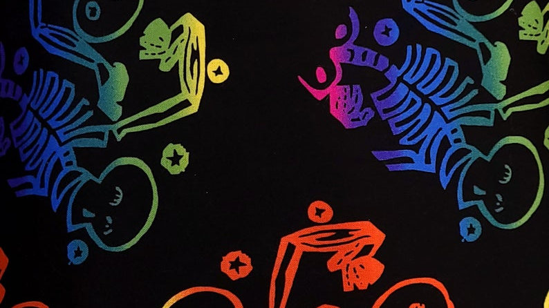 Multi Colored Skeletons Fabric by the Yard