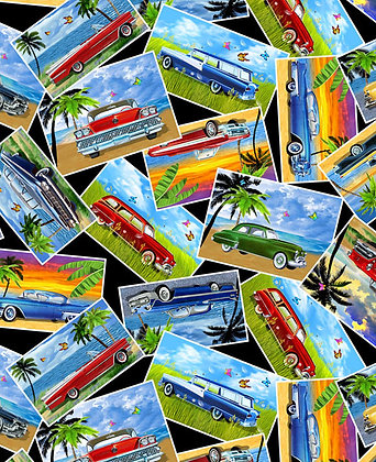 Cruisin' Cars Postcards Fabric by the Yard