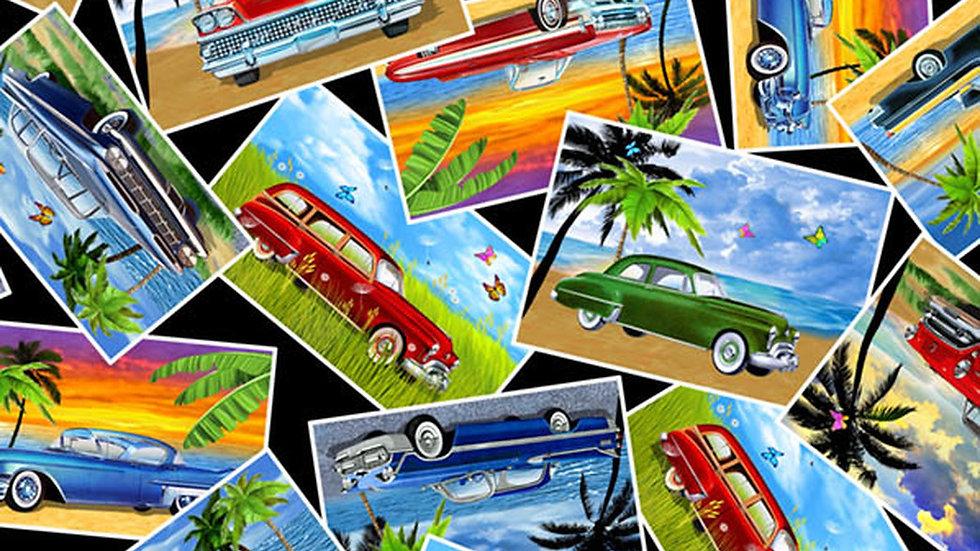 Cruisin' Cars Postcards Fabric by the Yard