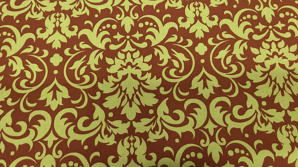 Damask in Chocolate and Mint