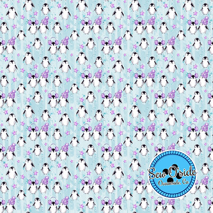 Xmas Penguins Sew O'side Exclusive 100% Woven Cotton by the Yard