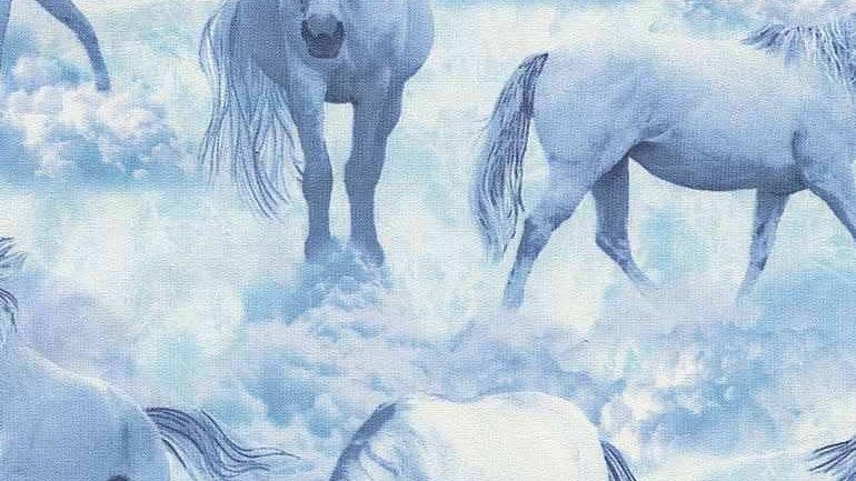 Blue Unicorns Fabric by the Yard