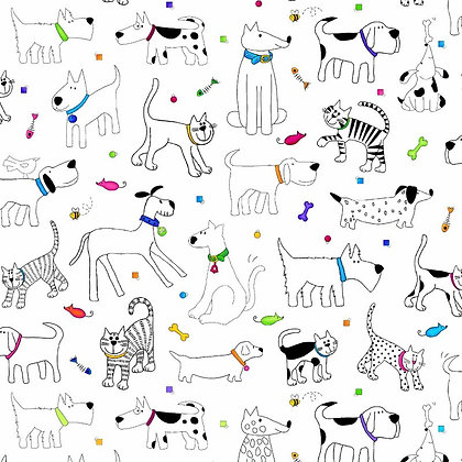 Pets 6ft Apart Fabric by the Yard