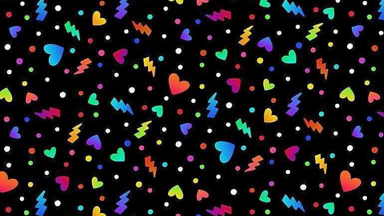 Rainbow Hearts Fabric by the Yard