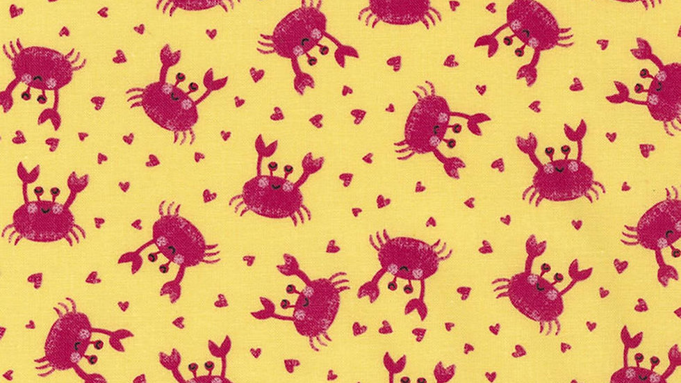 Pink Crabs Hearts Toss Yellow Cotton Fabric Timeless Treasures By The Yard