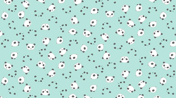 Mini Panda Mint Fabric by the Yard