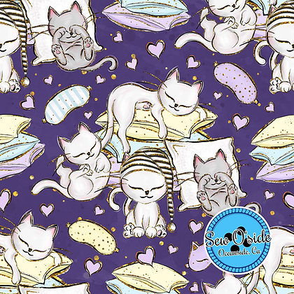 Sleepy Kitty Sew O'side Exclusive 100% Woven Cotton by the Yard