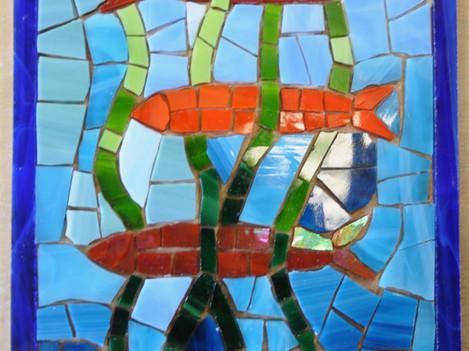 Mosaik in indirekter Methode von hinten