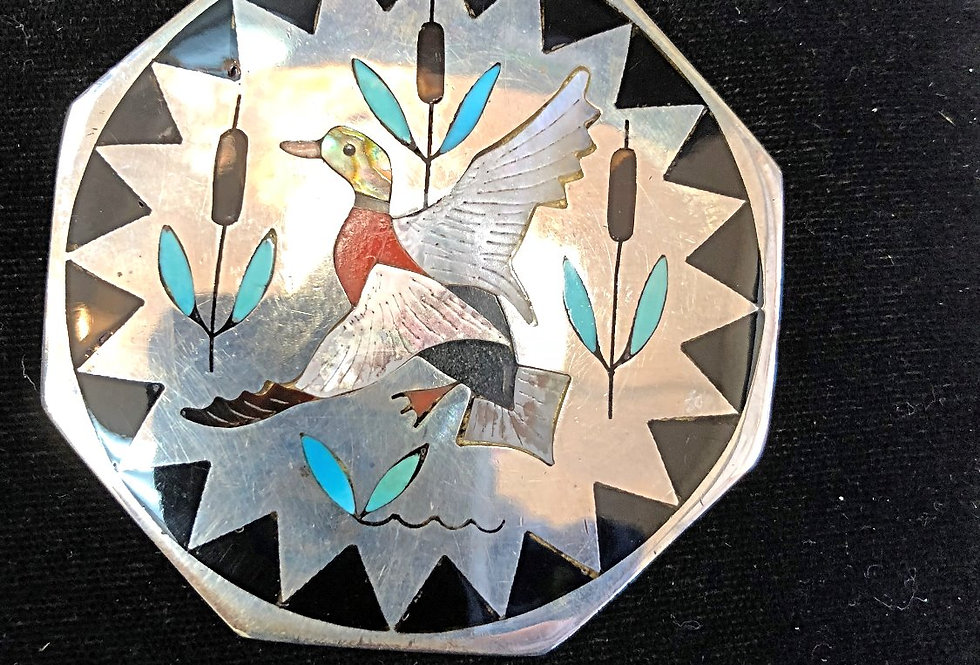 Inlay Pin/Pendant in Sterling Silver