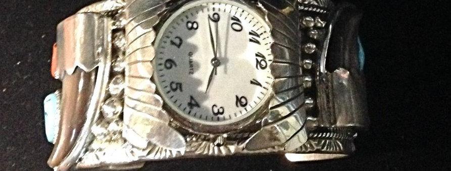 Sterling Silver Bear Claw Cuff Style Watch Bracelet