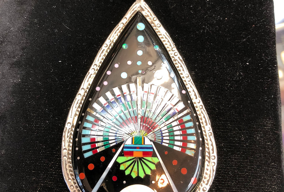 Large Sterling Silver and Multi Color Stone Pendant