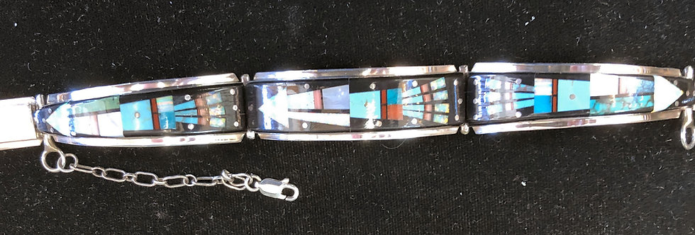 Native American Zuni Inlay Link Bracelet