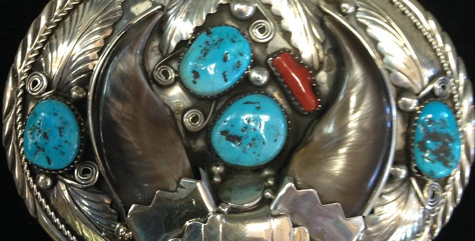 Sterling Silver Bear Claw Belt Buckle