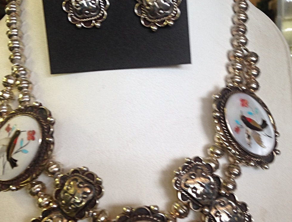 Custom Inlay Bird Design Necklace with Earrings