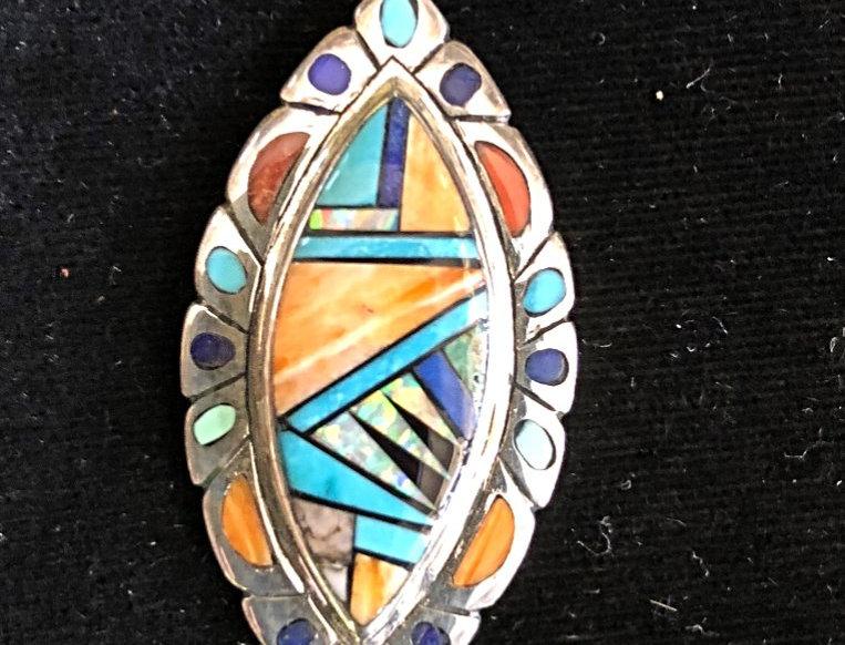 Multi-Color Inlay Stone Pendant