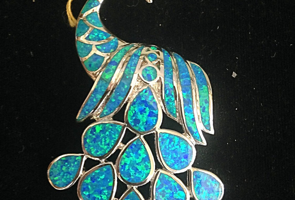 Sterling Silver Peacock Design with Austrailan Opall Stones Pendant
