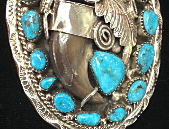 Bear Claw Turquoise Stone Bolo Tie