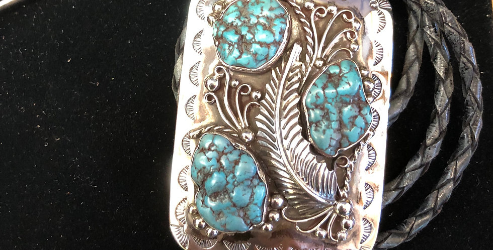 Native American Hand Made Turquoise and Sterling Bolo