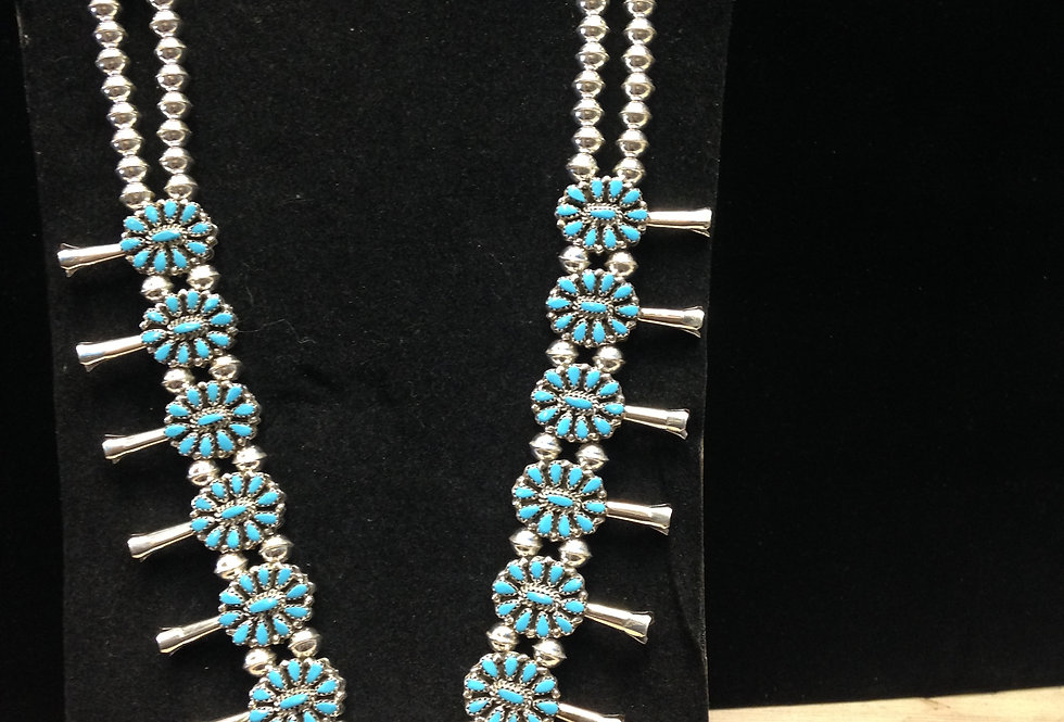 Reversable Turquoise/Coral  Squash Blossom Necklace