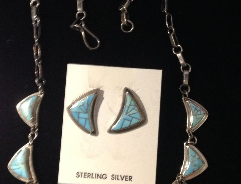Sterling Silver Inlay Turquoise Necklace