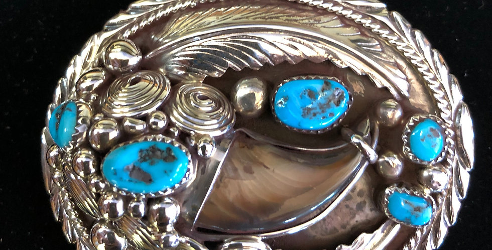 Sterling Silver Bear Claw and Turquoise Belt Buckle