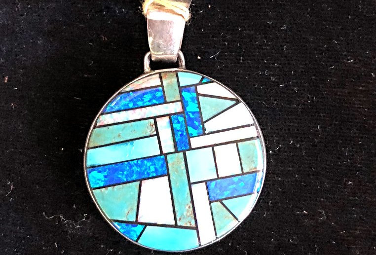 2-Sided Multi Color Inlay Native America Pendant