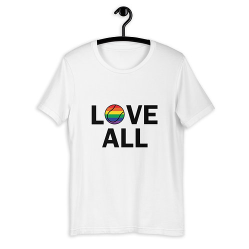 Love All LGBTQ+ Rainbow Tennis T-Shirt