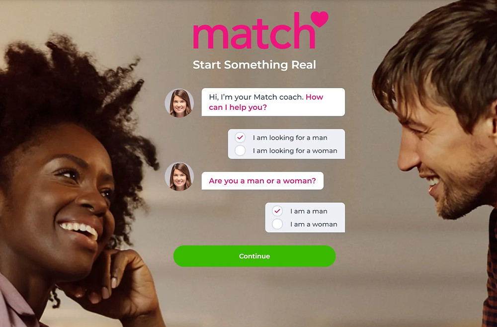 Match.com homepage man looking for a man