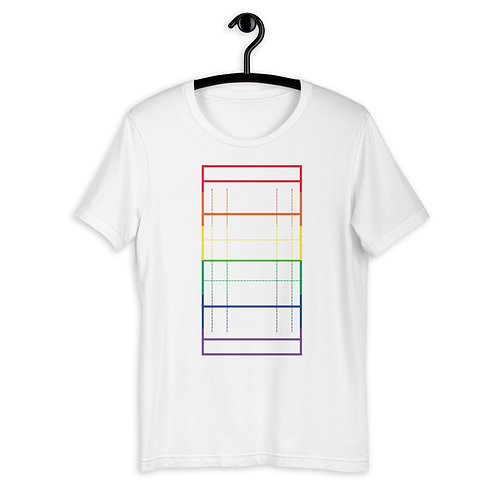 LGBTQ+ Rainbow Rugby Pitch Outline T-Shirt