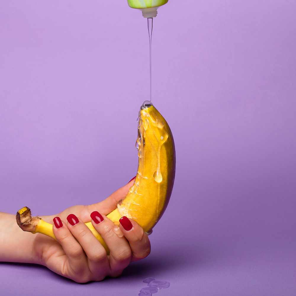 banana with lube poured on