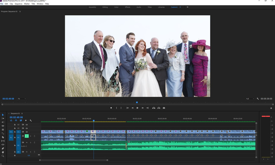 A bit of late night colour correction on Lucy & Max's wedding video.